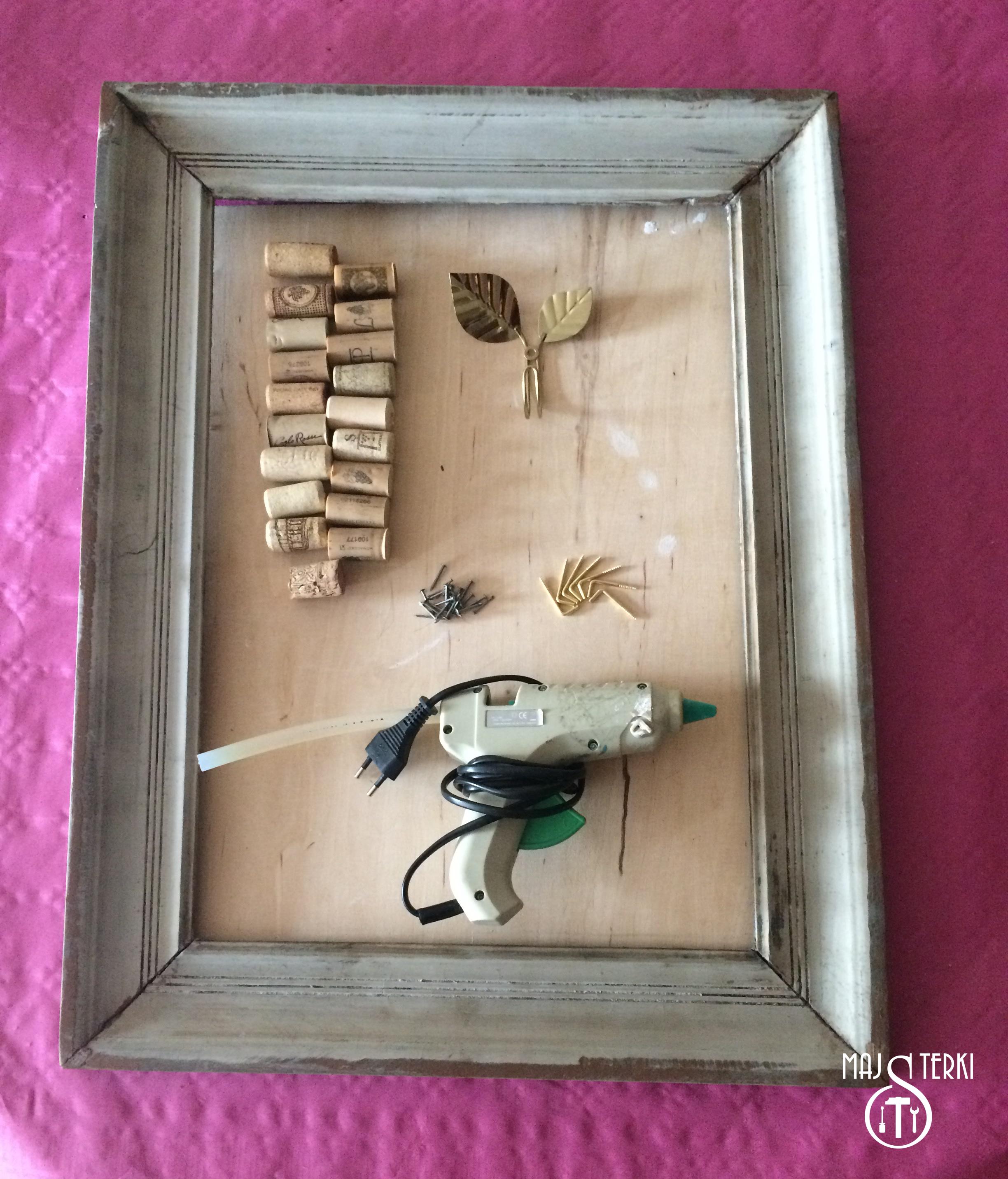 Korkowa ramka na biżuterię- materiały