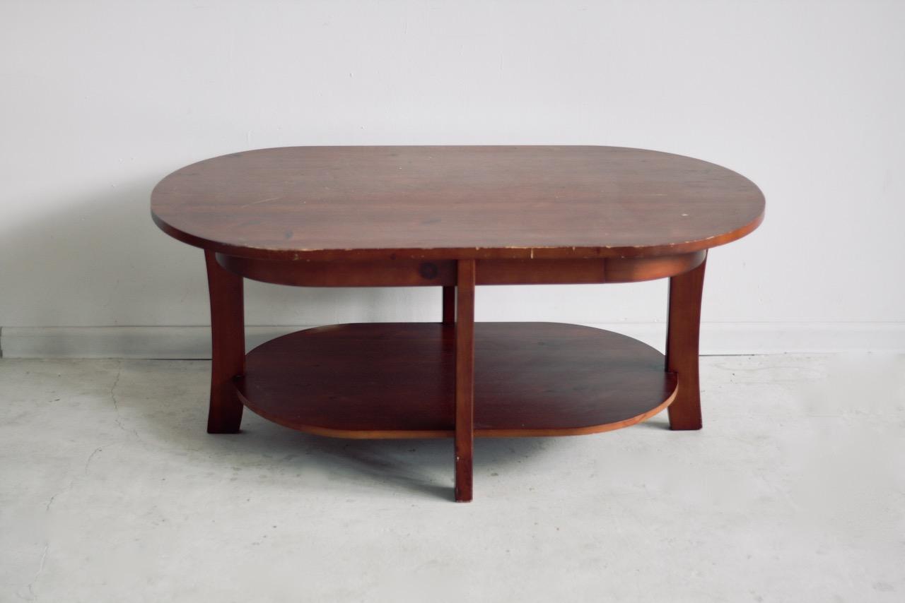 Stary drewniany stolik kawowy - ława - przed metamorfozą.